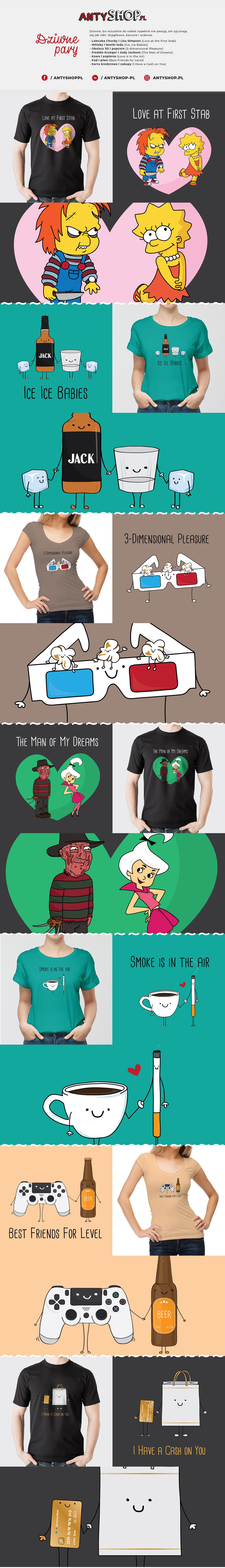 Projekty koszulek dla Antyshop