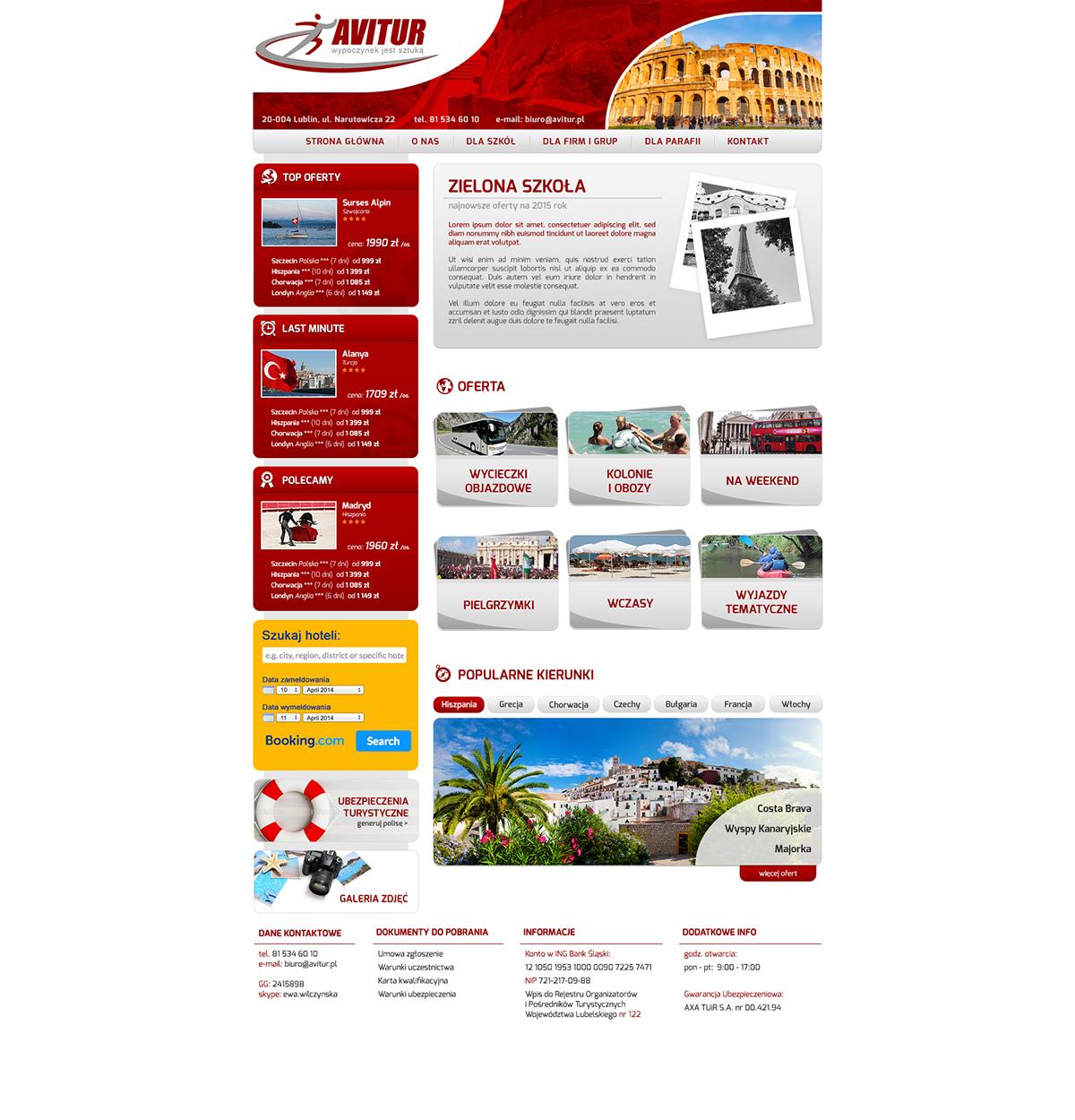 Strona www dla biura podróży Avitur
