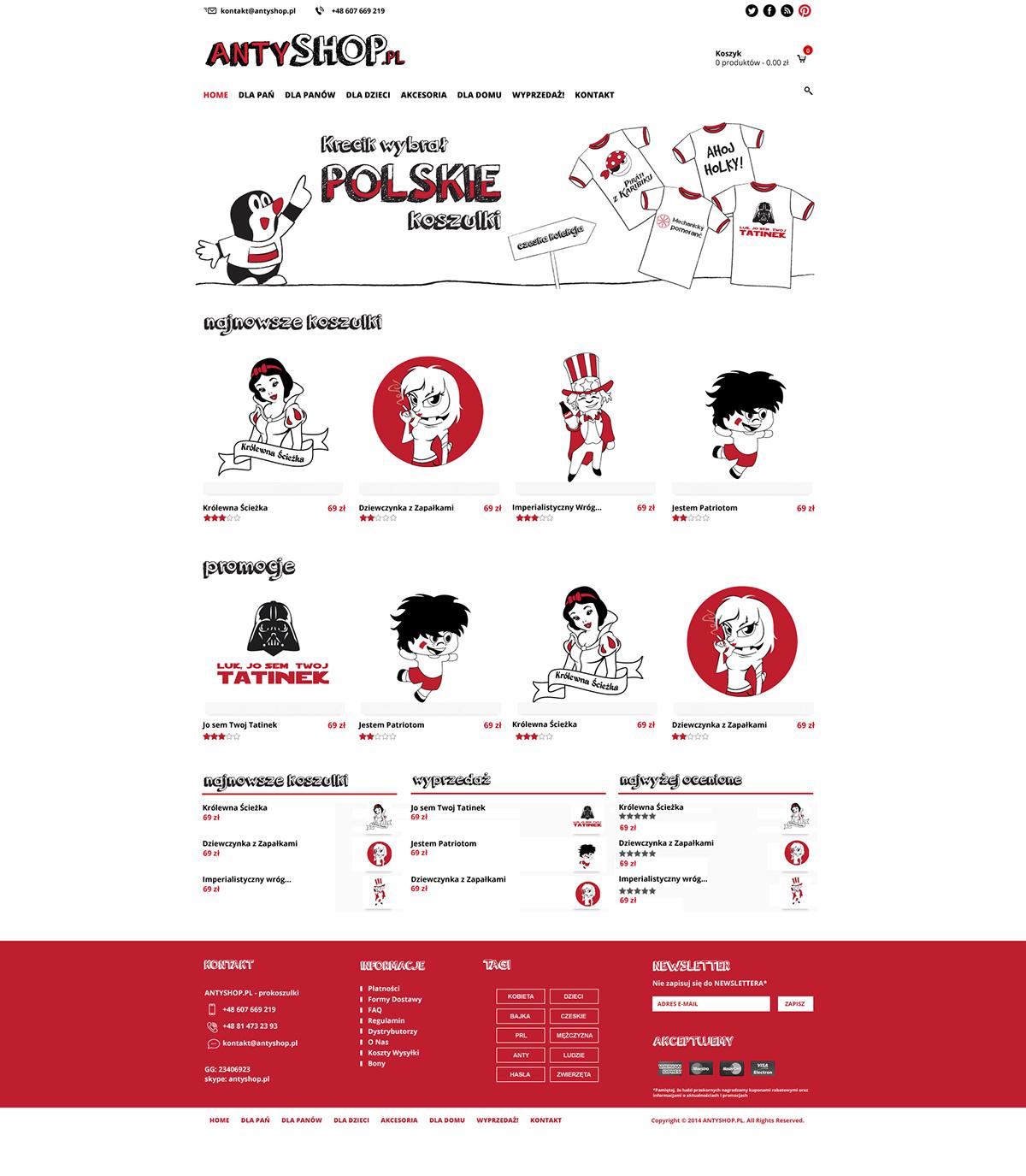Strona www dla sklepu Antyshop.pl