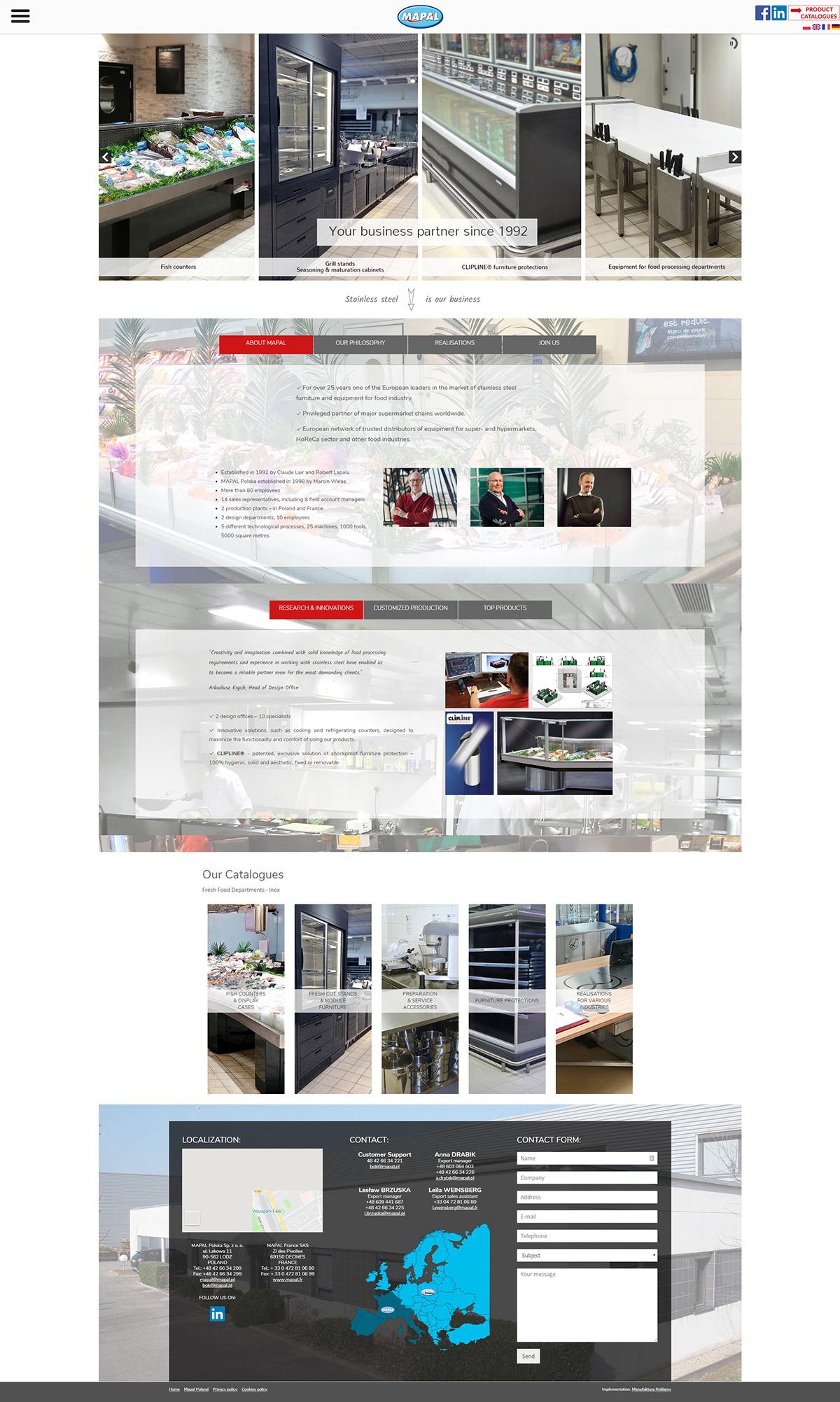 Strona www dla firmy zajmującej się wyposażeniem sektorów spożywczych