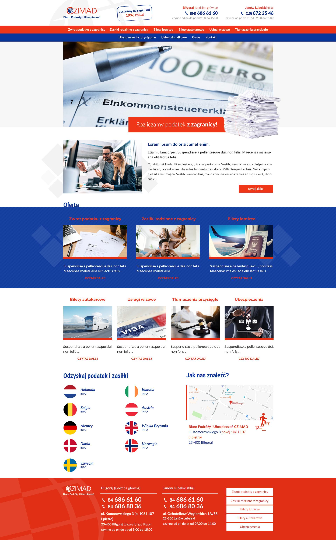 Strona www dla biura podróży i ubezpieczeń