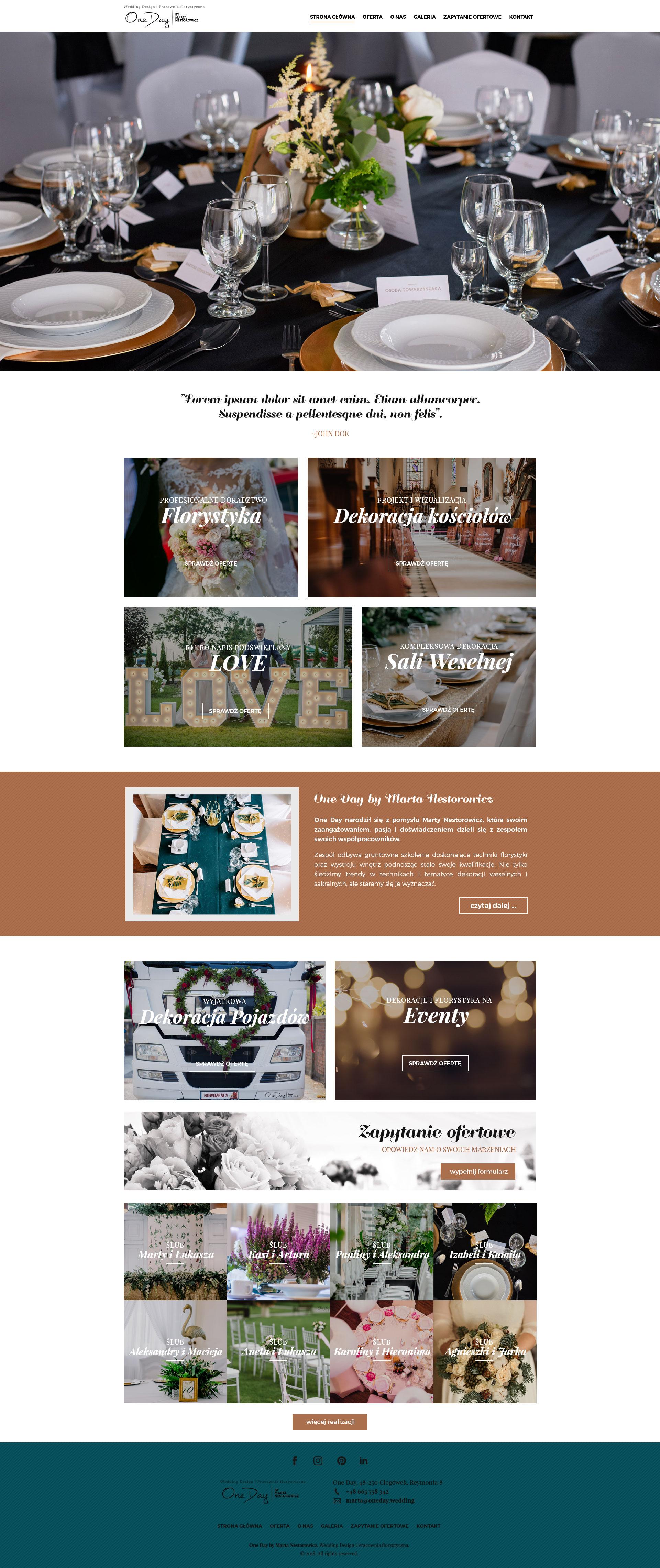 Strona www dla organizatora wesel
